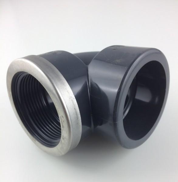 PVC-Klebefitting Winkel 90° Klebeanschluss Innen / Innengewinde
