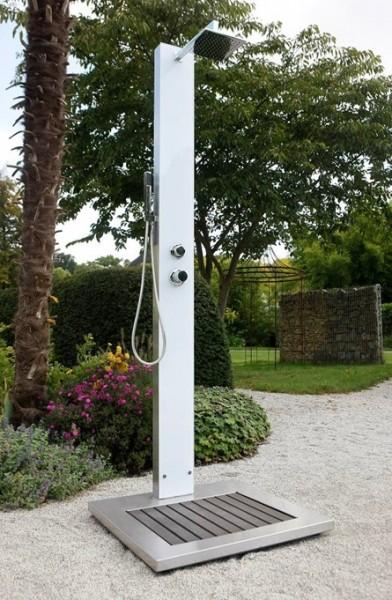 Edelstahl Kalt-Warmwasserdusche mit Sicherheitsglas (weiß)