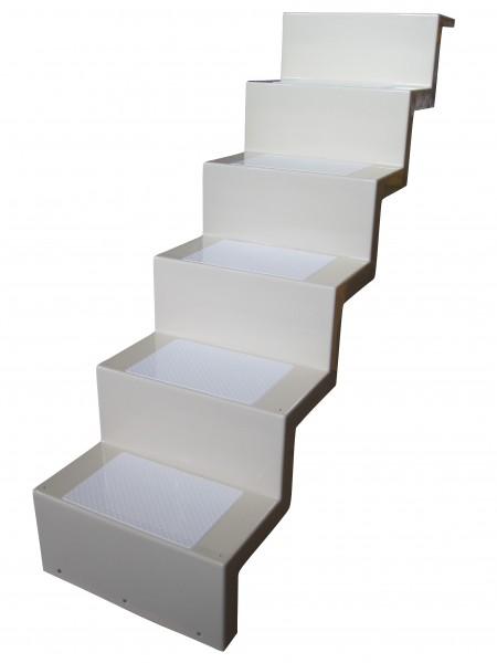Universaltreppe mit fabrlich abgesetzten Stufen